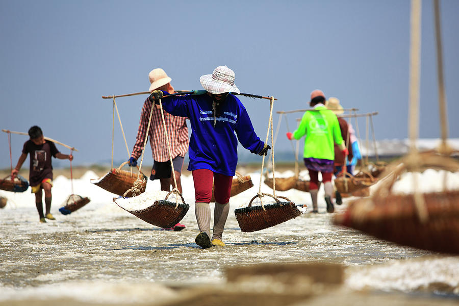 Salt Farm In Thailand Photograph by Monthon Wa