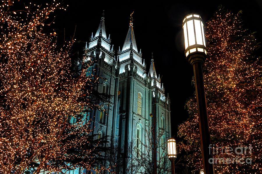 Salt Lake City Mormon Temple Christmas Lights Photograph