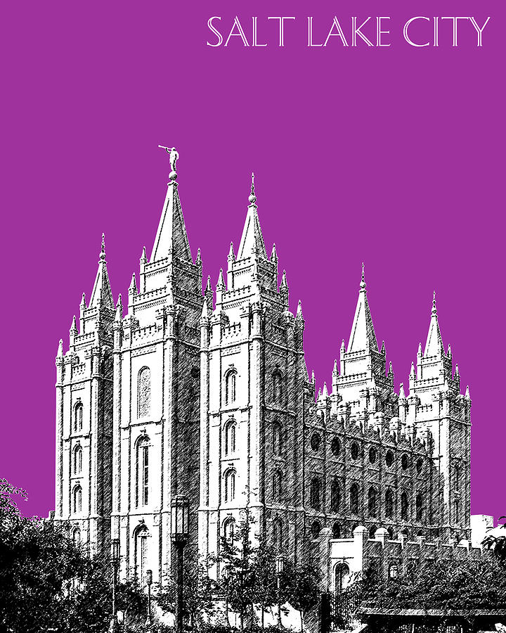 Architecture Digital Art - Salt Lake City Skyline Mormon Temple - Plum by DB Artist