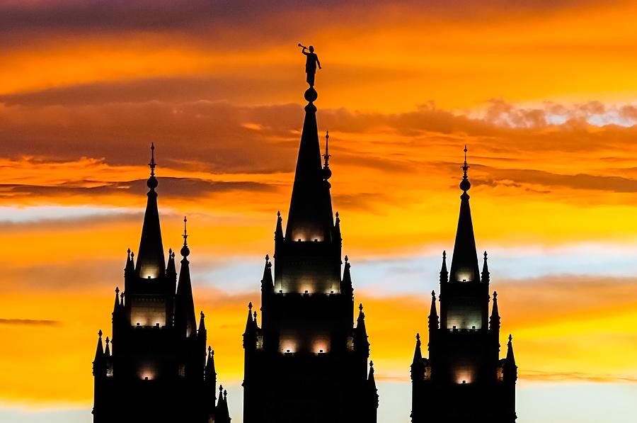 Salt Lake City Temple Sunset Photograph By Kirk Strickland