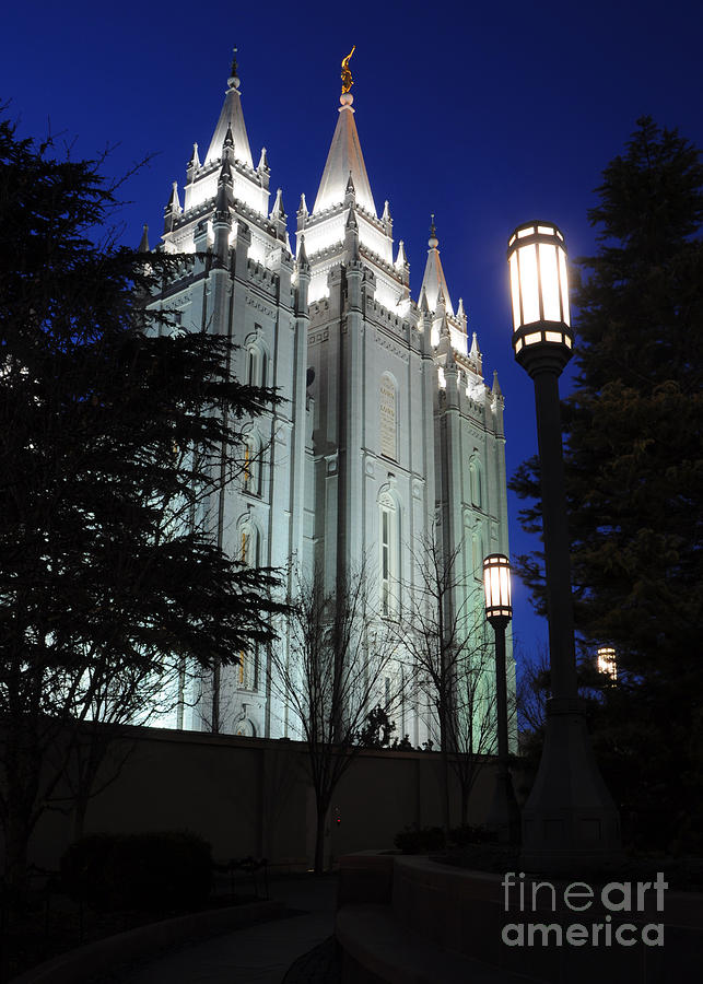Mormon Photograph - Salt Lake Mormon Temple At Night by Gary Whitton