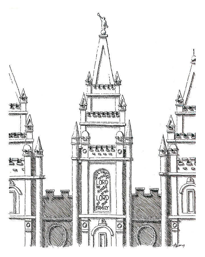 Temple Drawing - Salt Lake Temple by Aaron Bodtcher