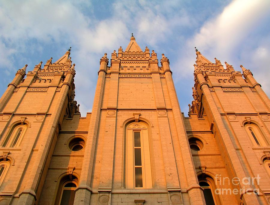 Salt Lake Temple Photograph - Salt Lake Temple Sunset Closeup by Jenny Wood