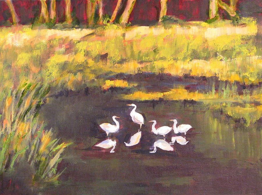 Egrets Painting - Salt Marsh Harmony by Cecelia Campbell