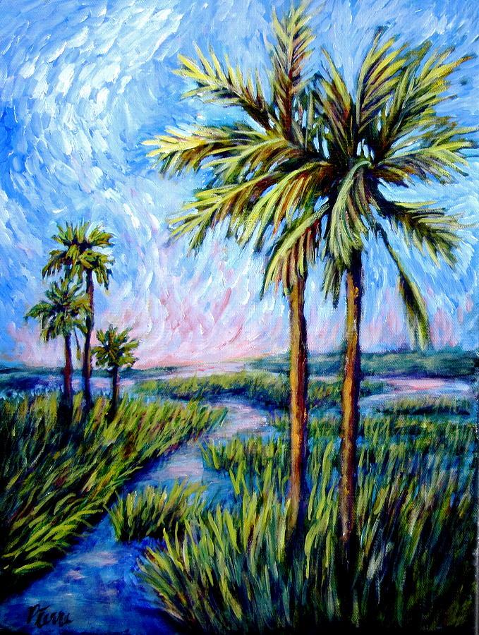Marsh Painting - Salt Marsh Palms by Sebastian Pierre