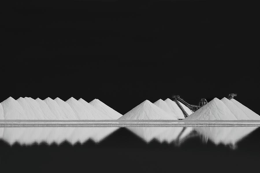 Dark Photograph - Salt Production Bw by Rolf Endermann