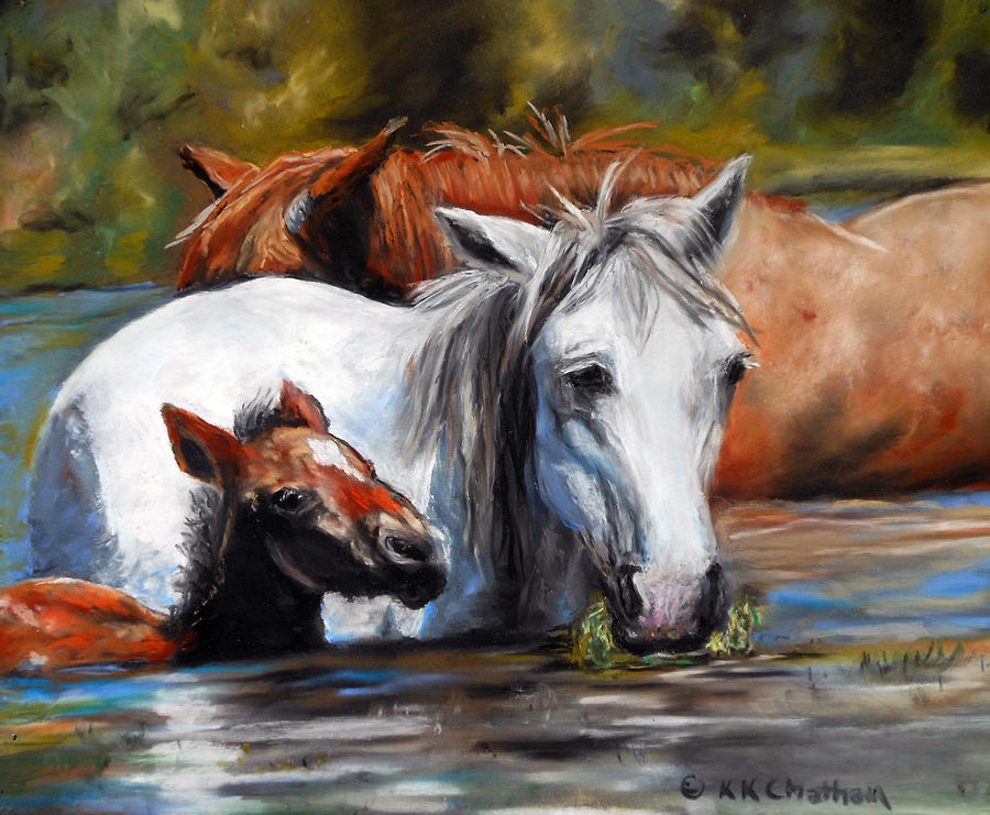Wild Mustangs Pastel - Salt River Foal by Karen Kennedy Chatham