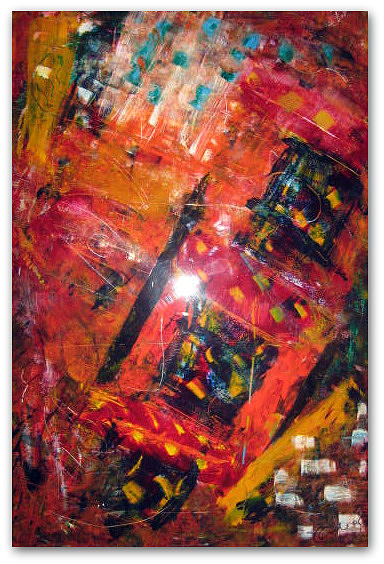 Abstract Painting - Saltimbanques Smile by Catherine Emile