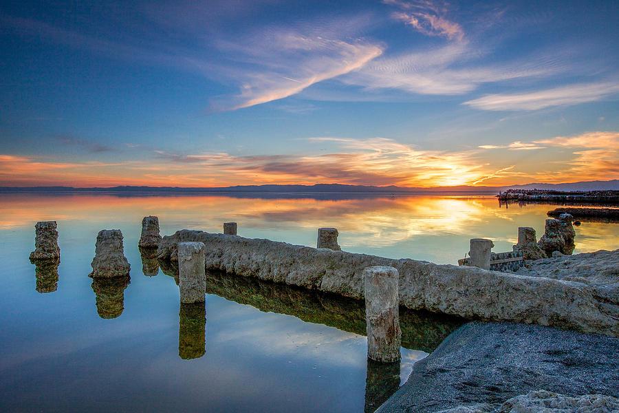 Sunset Photograph - Salton Sea Mirror by Robert  Aycock