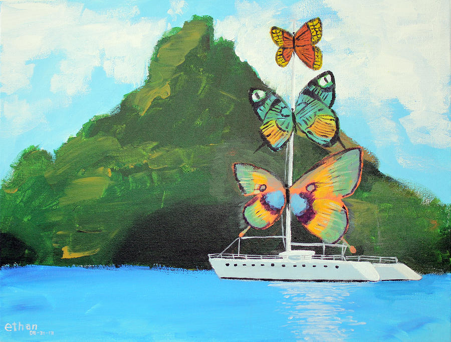 Salvador Dali Inspired Butterfly Catamaran Painting by Ethan Altshuler