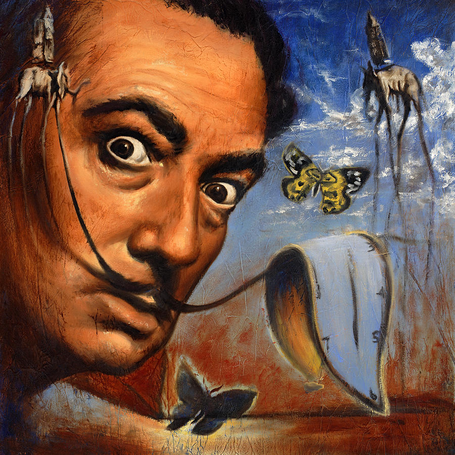 Salvador Dali Portrait Painting by Travis Knight