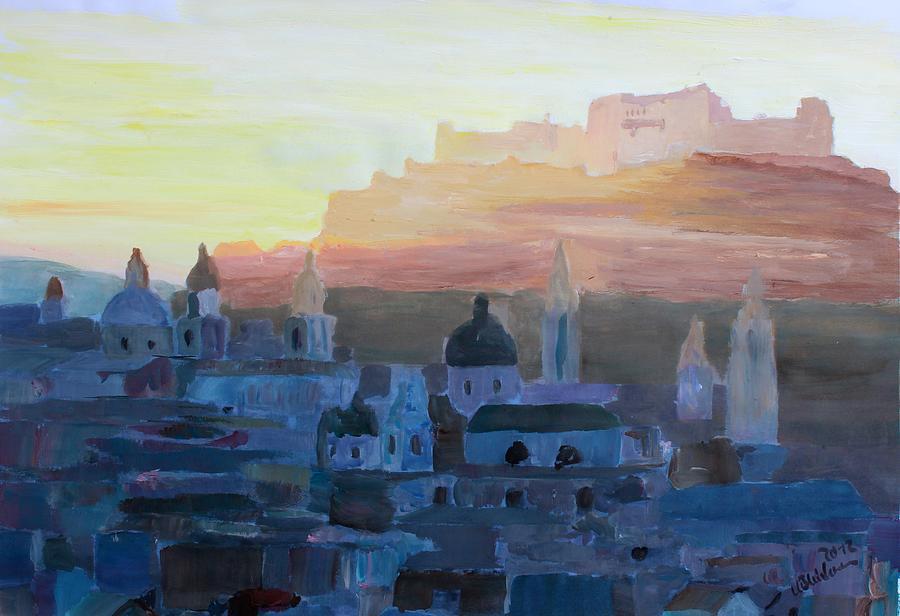 Salzburg Painting - Salzburg At Dusk by M Bleichner