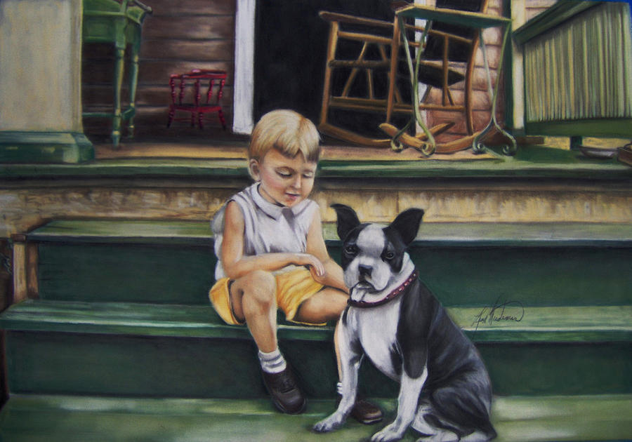 Boy With Dog Pastel - Sam And Gippy by Leah Wiedemer