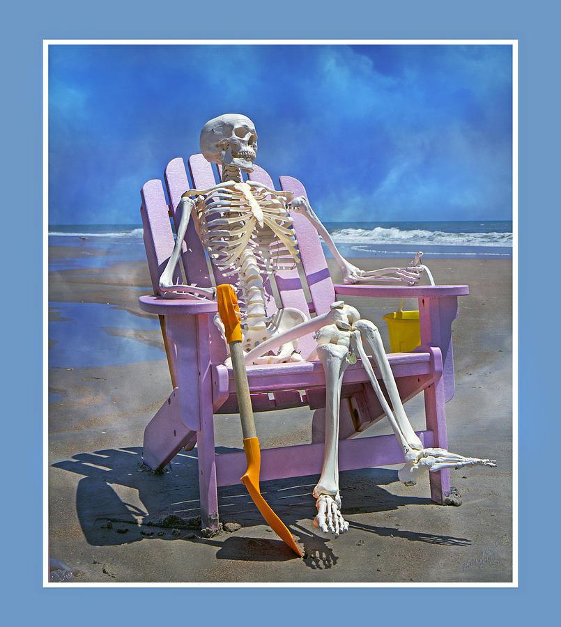 Skeleton Photograph - Sam Enjoys The Beach -- Again by Betsy Knapp