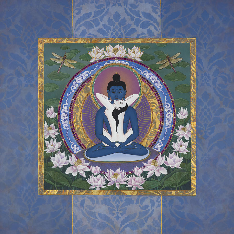 Blue Buddha Painting - Samantabadhra In the Beginning by Nadean OBrien