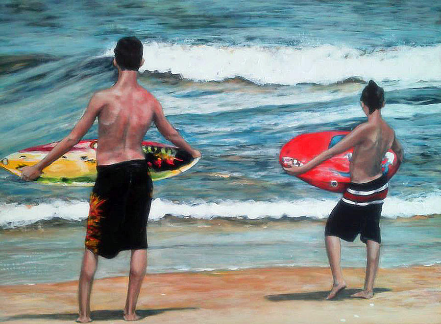 Seascape Painting - Same Place Different Time by Carol Coffman