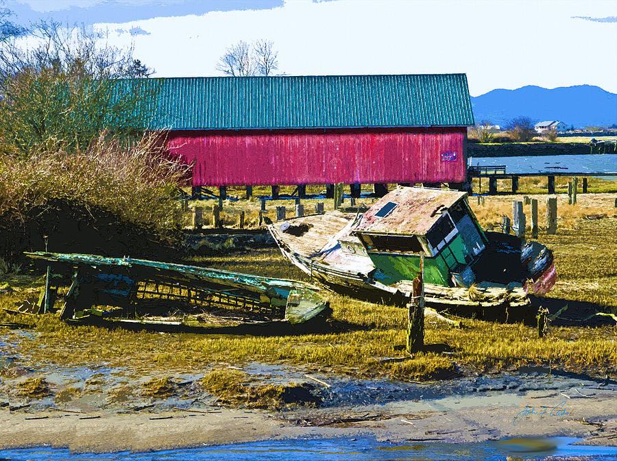 Red Boat Shed Photograph - Samish Island Abandoned Boat by John Parks