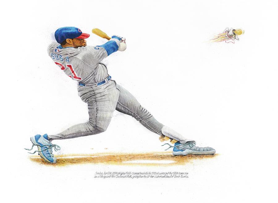 Baseball Drawing - Sammy Sosa by Ken Hank