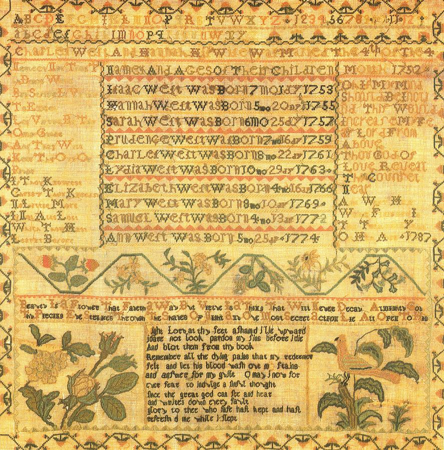 Reproduction Of Original Sampler By Ann West - Stiched The Thirteenth Year Of Tapestry - Textile - Sampler by Ann West