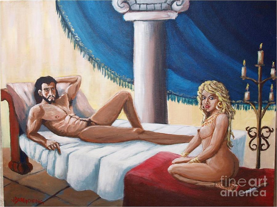 Samson And Delilah Painting By Jean Pierre Bergoeing