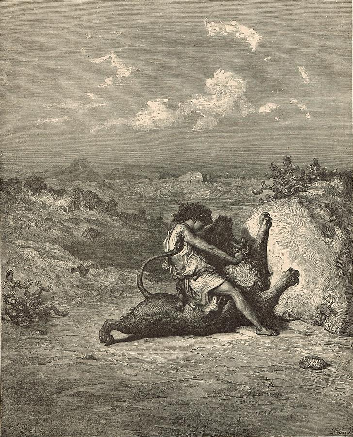 Antique Drawing - Samson Slaying The Lion by Antique Engravings