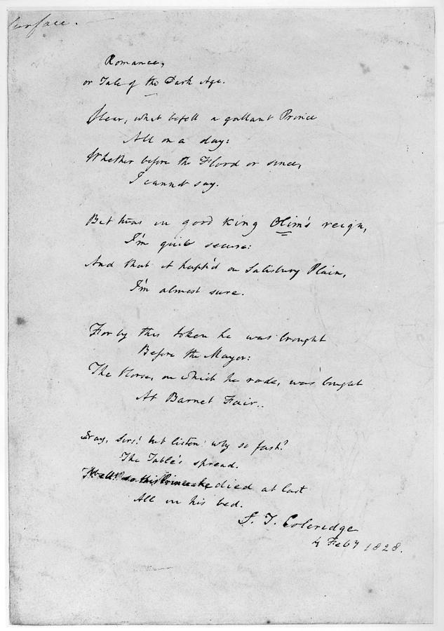 1828 Painting - Samuel Taylor Coleridge (1772-1834) by Granger