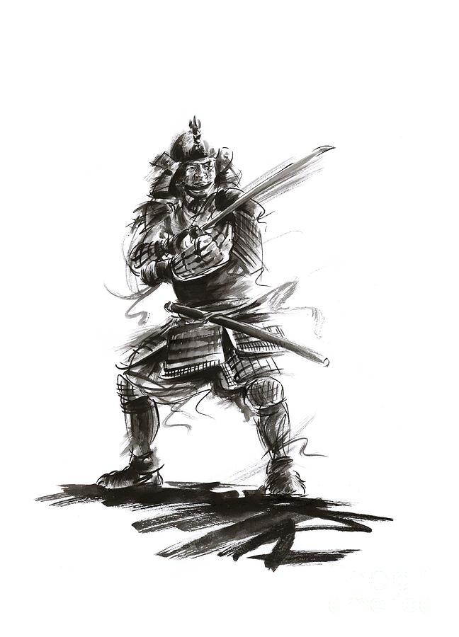 Samurai Painting - Samurai Complete Armor Warrior Steel Silver Plate Japanese Painting Watercolor Ink G by Mariusz Szmerdt