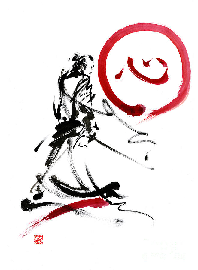 samurai enso circle wild fury bushi bushido martial arts sumi e painting by mariusz szmerdt. Black Bedroom Furniture Sets. Home Design Ideas
