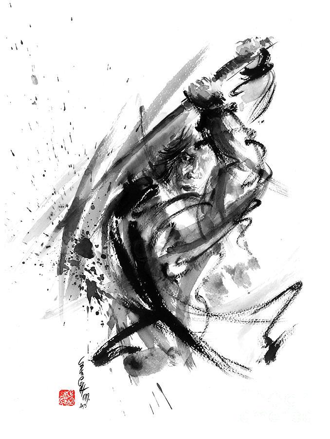 Samurai Ronin Wild Fury Bushi Bushido Martial Arts Sumi e Original Ink Painting Artwork
