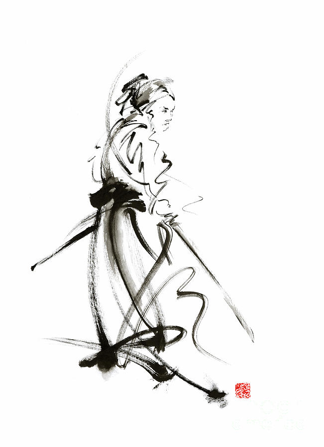 samurai sword bushido katana martial arts sumi e original ink painting artwork painting by. Black Bedroom Furniture Sets. Home Design Ideas