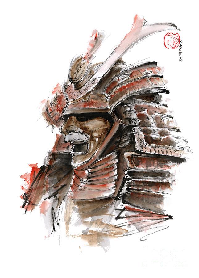 Samurai Warrior Japanese Armor Full Face Mask Painting By Mariusz Szmerdt