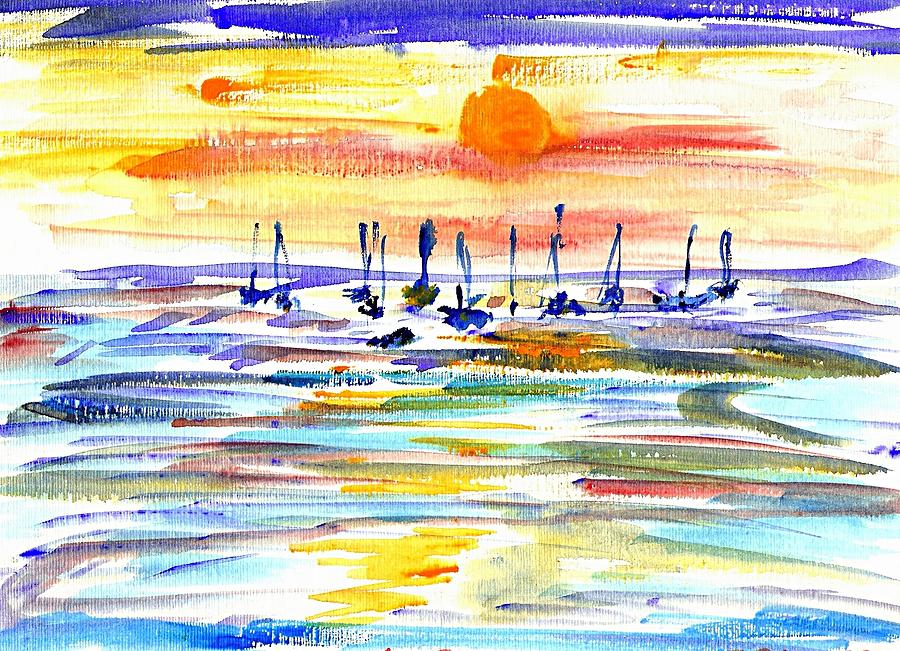Sunset Painting - San Antonio Bay by Anthony Fox