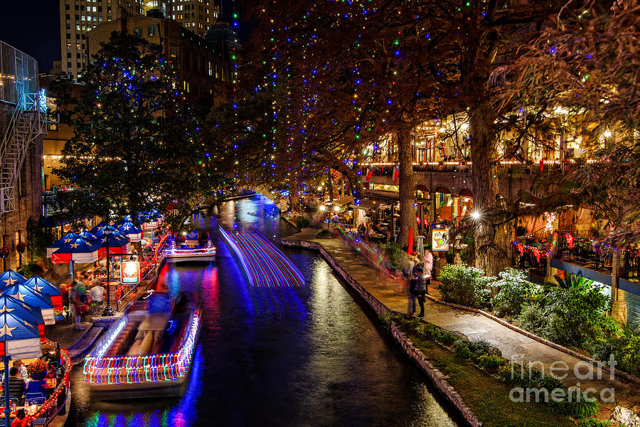 San Antonio Riverwalk During Christmas Photograph By