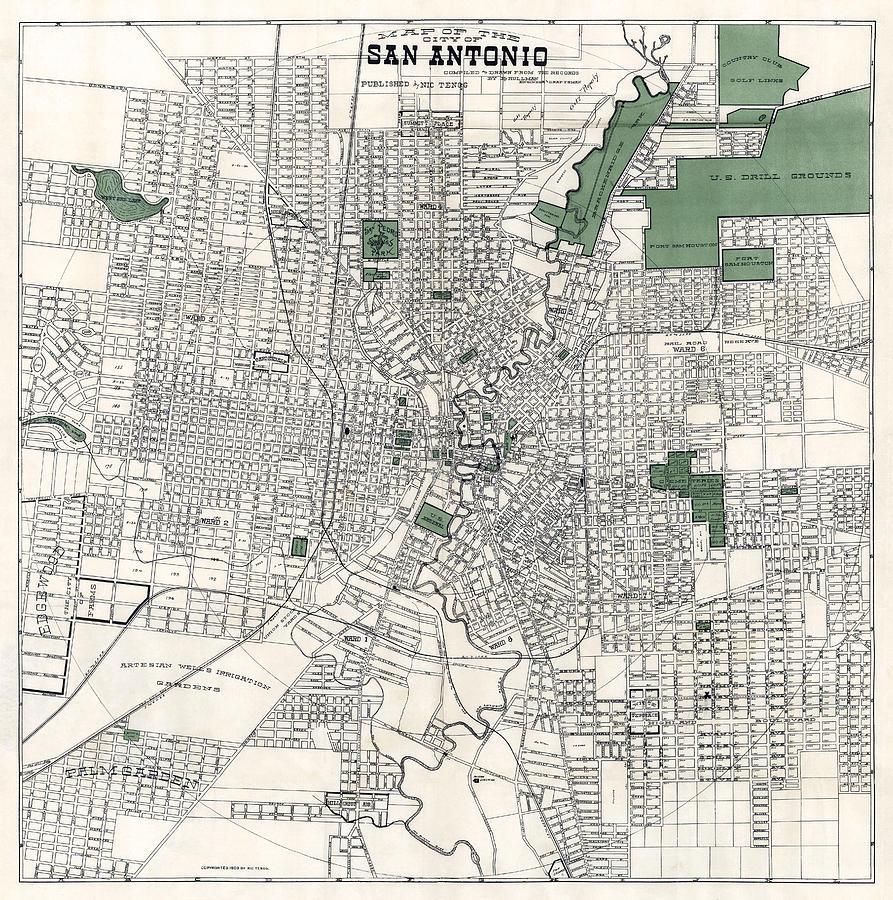 San Antonio Map Of Texas.San Antonio Texas Hand Drawn Map 1909 By Daniel Hagerman