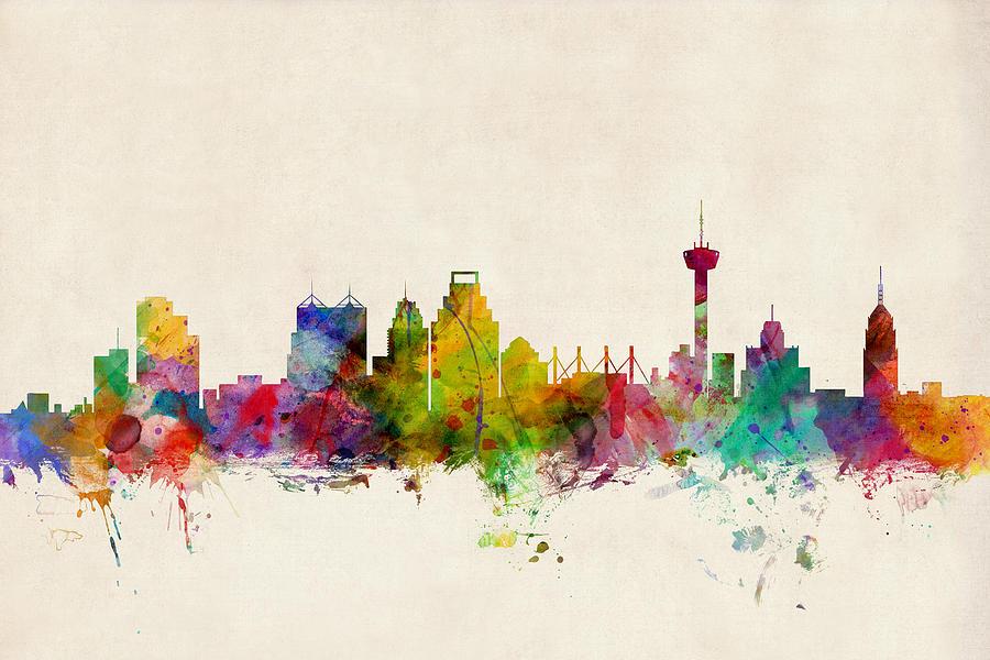 Watercolour Digital Art - San Antonio Texas Skyline by Michael Tompsett