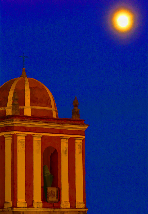 Belfry Digital Art - San Bartolome Moonlight by Robin Graham