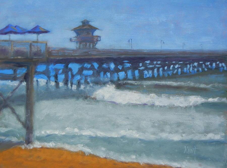 Ocean Painting - San Clemente Pier by Kent Pace