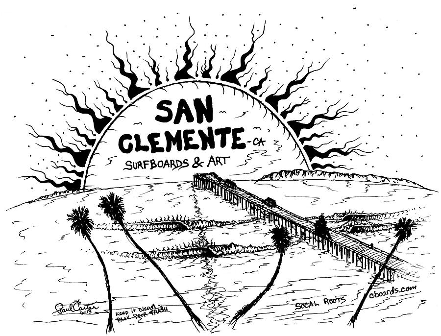 Surf Drawing - San Clemente Pier  by Paul Carter