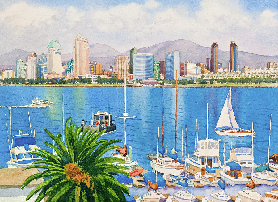 San Diego Painting - San Diego Skyline by Mary Helmreich