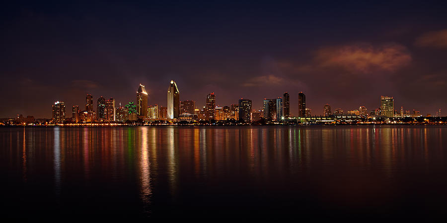 Bay Photograph - San Diego Night Skyline by Peter Tellone
