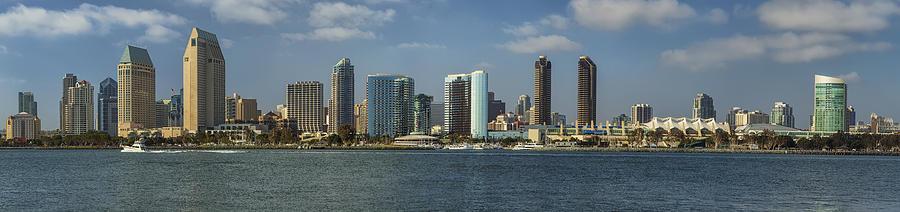 Architecture Photograph - San Diego Skyline Daytime Panoramic by Adam Romanowicz