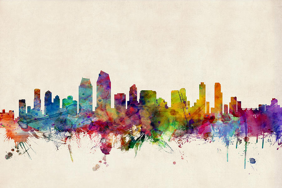 Watercolour Digital Art - San Diego Skyline by Michael Tompsett