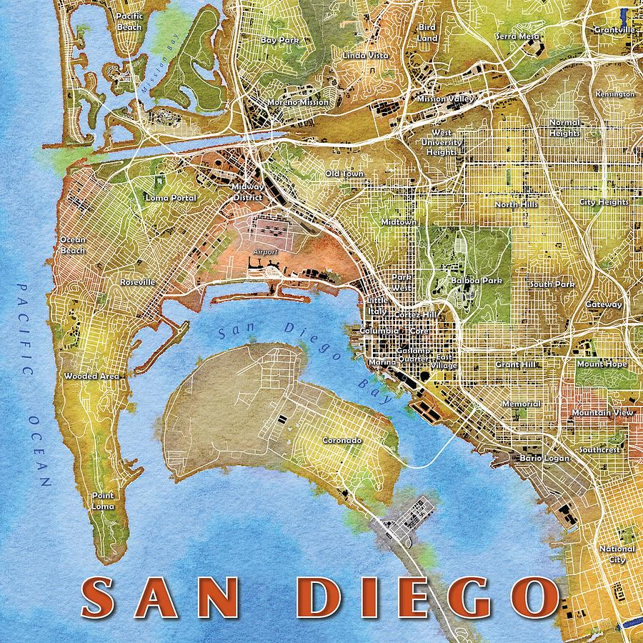 San Diego Watercolor Map Digital Art by Paul Hein