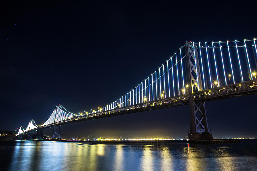 San Francisco Bay Bridge With Led Lights Photograph by Halbergman