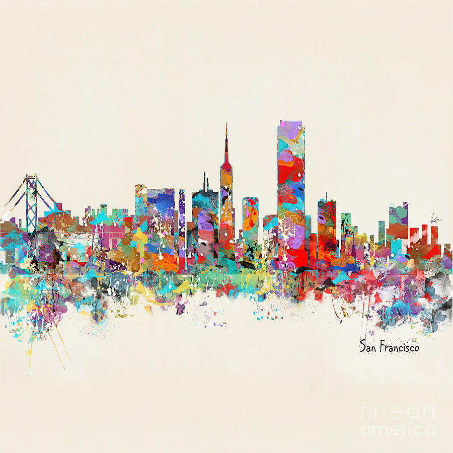 San Francisco Skyline Painting   San Francisco California Skyline By Bleu  Bri