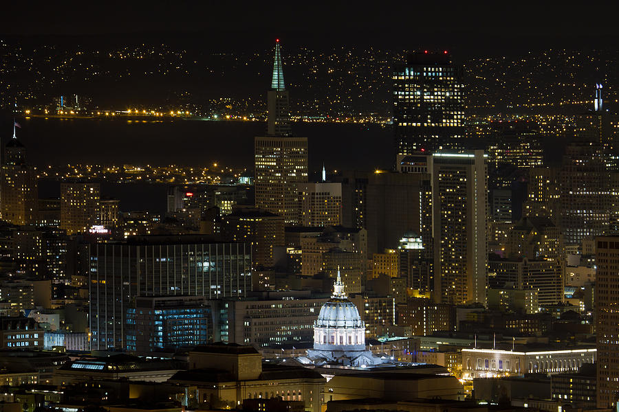 San Photograph - San Francisco Cityscape With City Hall At Night by David Gn