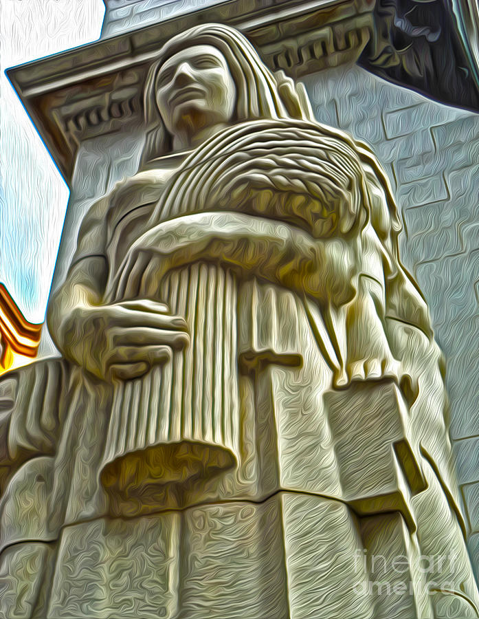 San Francisco Painting - San Francisco - Financial District Statue - 04 by Gregory Dyer