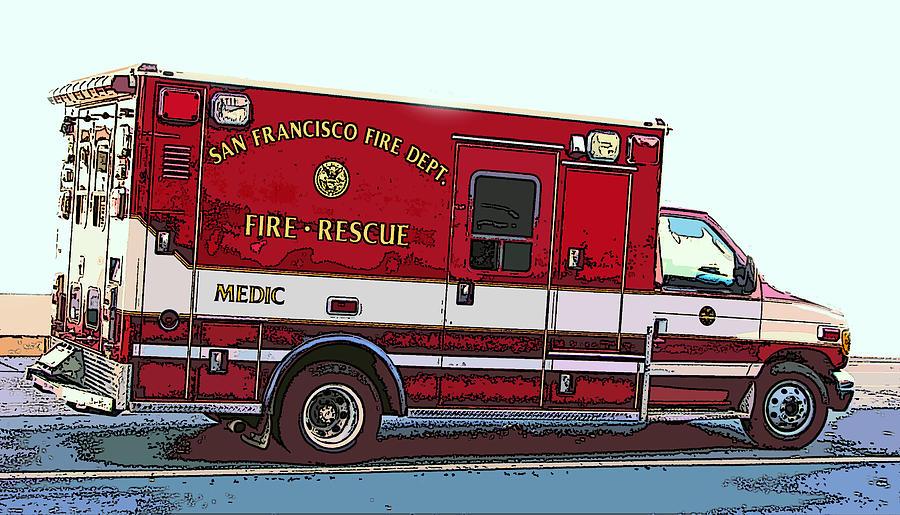 San Francisco Fire Dept. Medic Vehicle Photograph - San Francisco Fire Dept. Medic Vehicle by Samuel Sheats