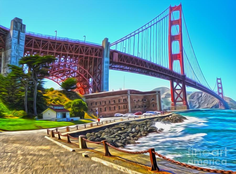 San Francisco Painting - San Francisco - Golden Gate Bridge - 11 by Gregory Dyer