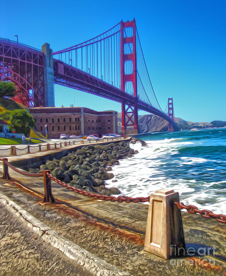 San Francisco Painting - San Francisco - Golden Gate Bridge - 12 by Gregory Dyer